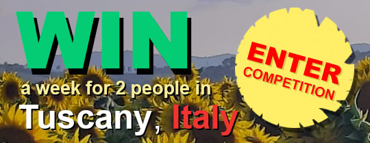 WIN a week for 2 people in Tuscany, Italy -Enter Competition