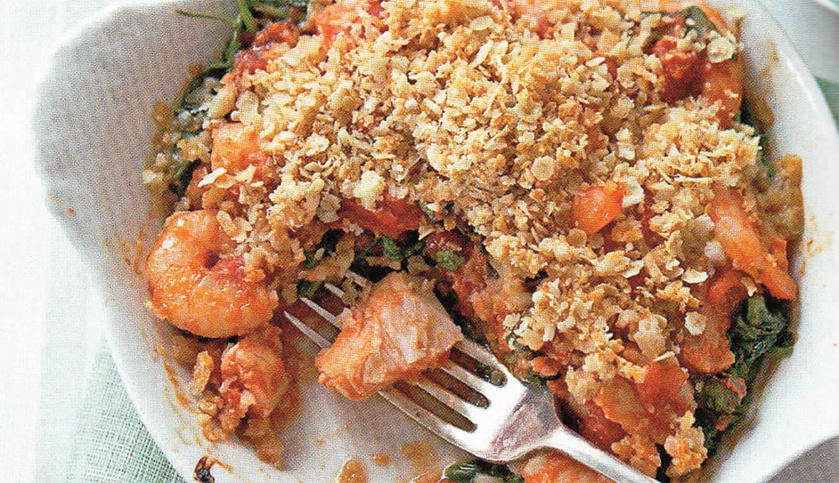 Fish and Prawn Gratins with an Oaty topping