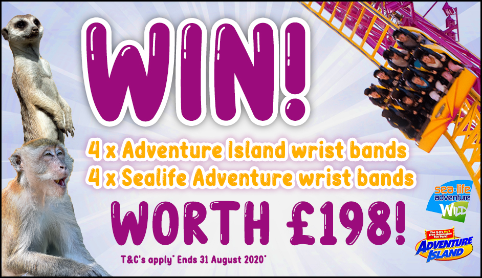 WIN 4 x Adventure Island wrist bands and 4 x Sealife Adventure wrist bands worth £198!