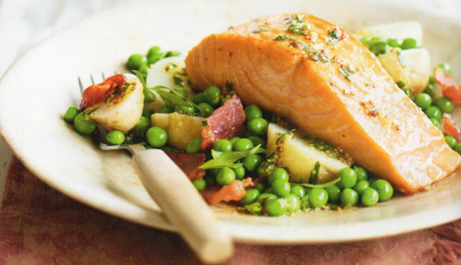 Warm Salmon with Asparagus, Bacon and a Tarragon Vinaigrette