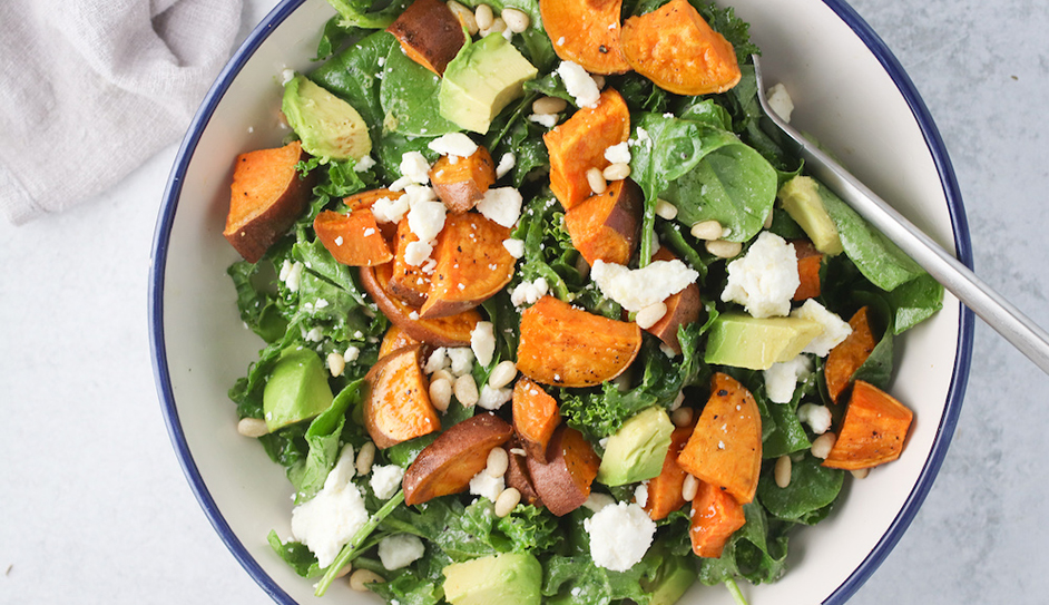 Mexican Sweet potato and Griddled avocado salad